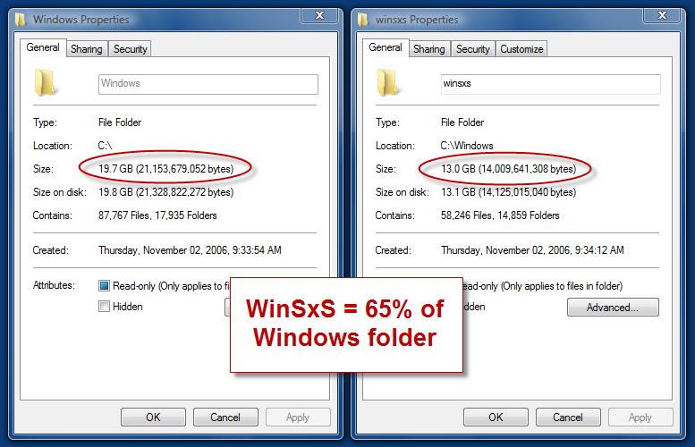How to delete winsxs folder?