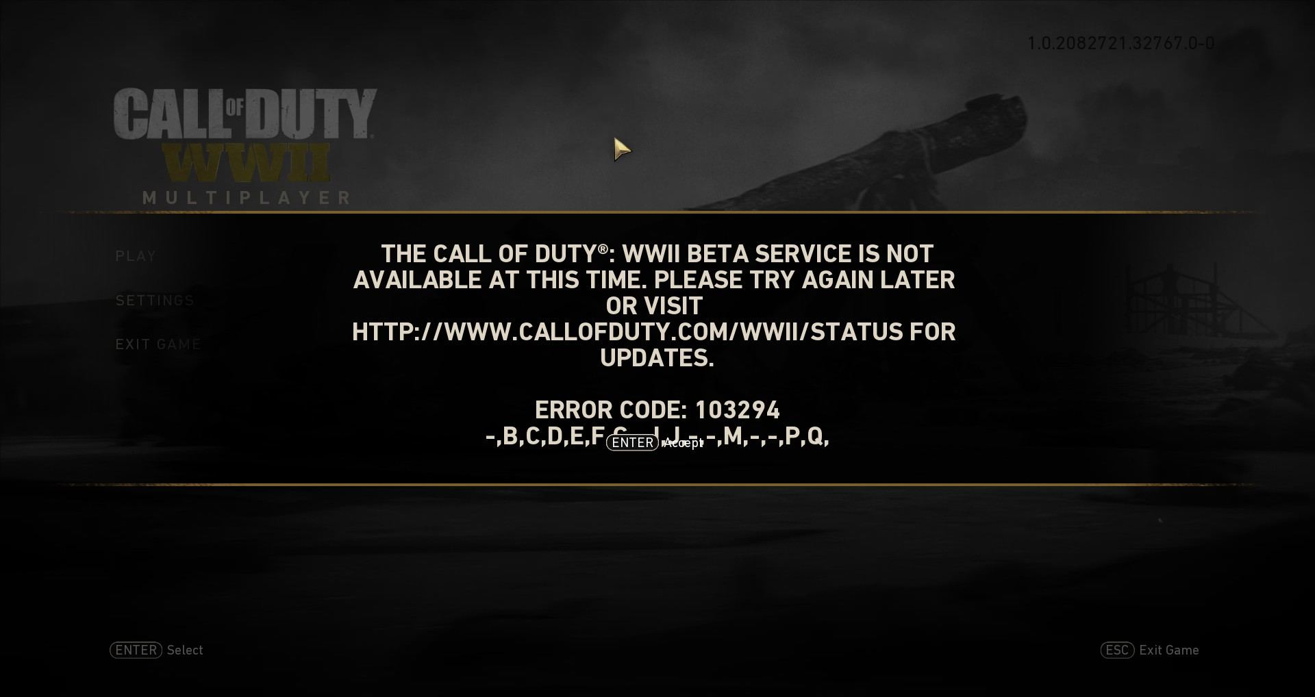 How to fix Call of Duty WW2 error code 103294?