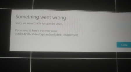 0xA00F425D (0x80131500) VideoCaptureStartFailed