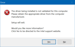 the driver being installed is not validated
