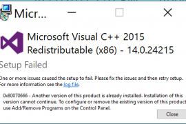 How to fix Microsoft Visual Studio C++ 2015 error 0x80070666?