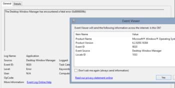 The Desktop Window Manager has encountered a fatal error (0x8898009b)