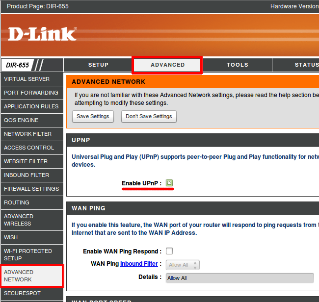 UPnP activation