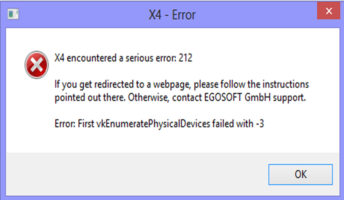 Errors 212 in the X4 game