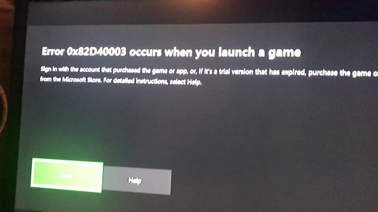 error 0x82d40003 on xbox one