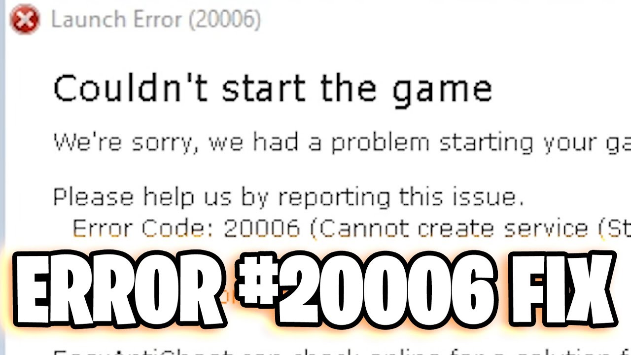 error 20006 in the game Fortnite