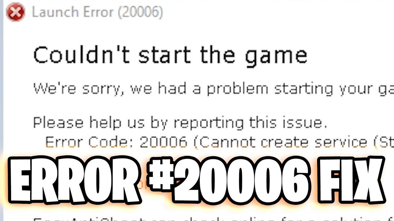 error 20006 in the game Fortnite