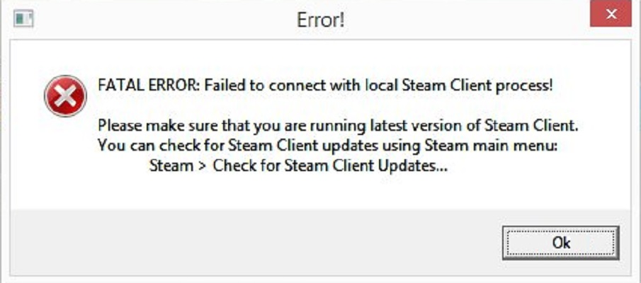 Fatal Error failed to connect to local steam client process